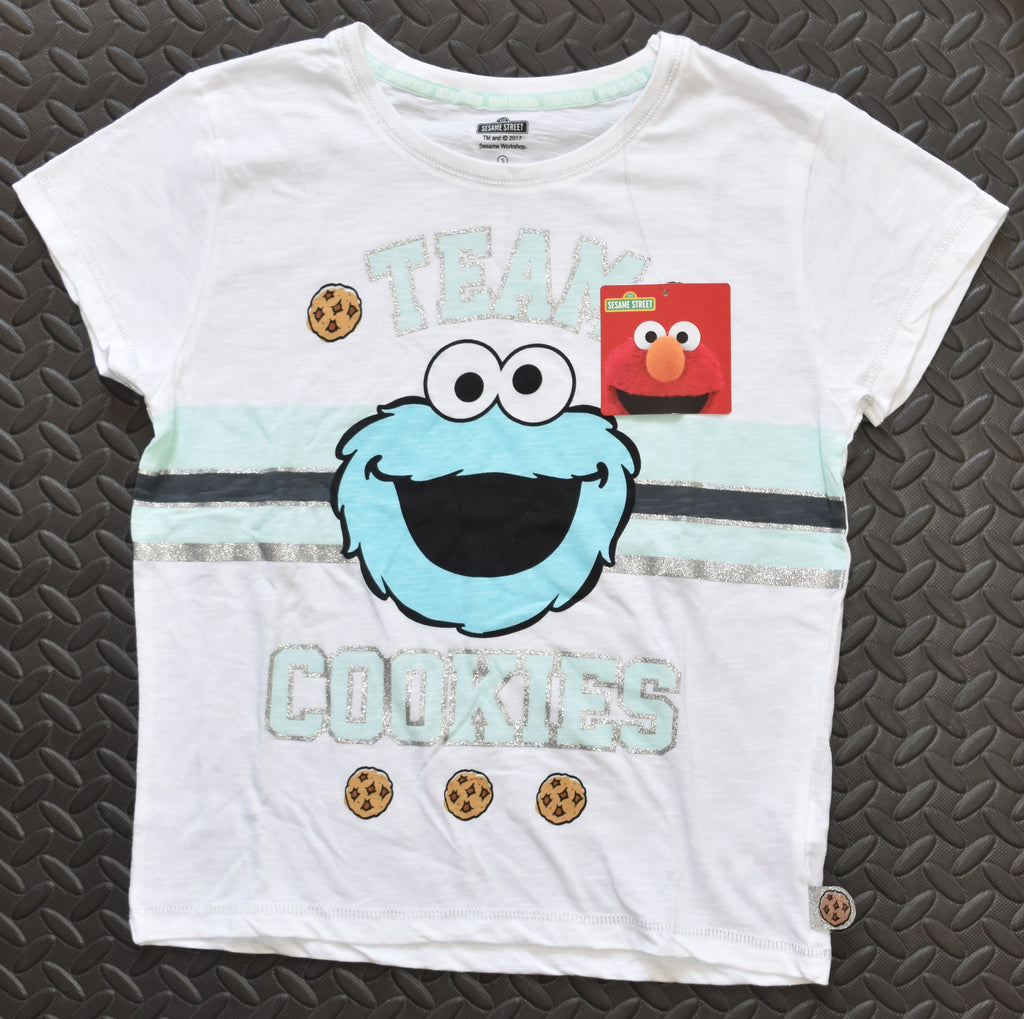 COOKIE MONSTER PRIMARK T Shirt Womens SEASAME STREET TEAM Ladies Stripe UK Sizes 4 - 20