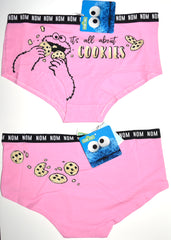 Cookie Monster Knickers Panties Pink All About Cookies Womens UK Sizes 6 to 22