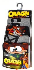 Crash Bandicoot Socks Primark Retro Gamer Mens 5 Pack UK Size 6 to 8 and 9 to 12