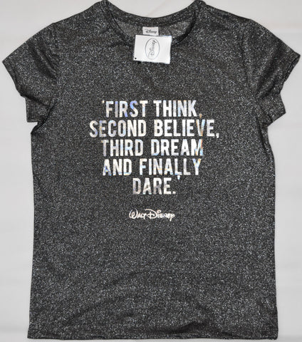 Primark Walt Disney Quote T Shirt '1st Think' Womens Ladies Silver UK Sizes 6 to 8