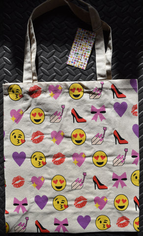 Primark Emoji iphone emoticon CANVAS TOTE SHOPPER SHOPPING SHOULDER BAG BNWT - Click. Buy. Love. - 1