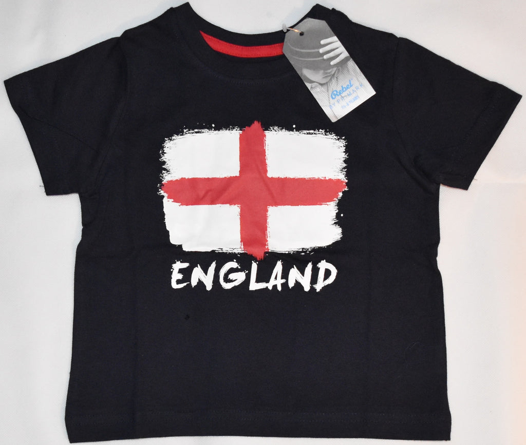 Boys England Flag T-Shirt St Georges Cross NAVY English PRIMARK Sizes 1-8 years