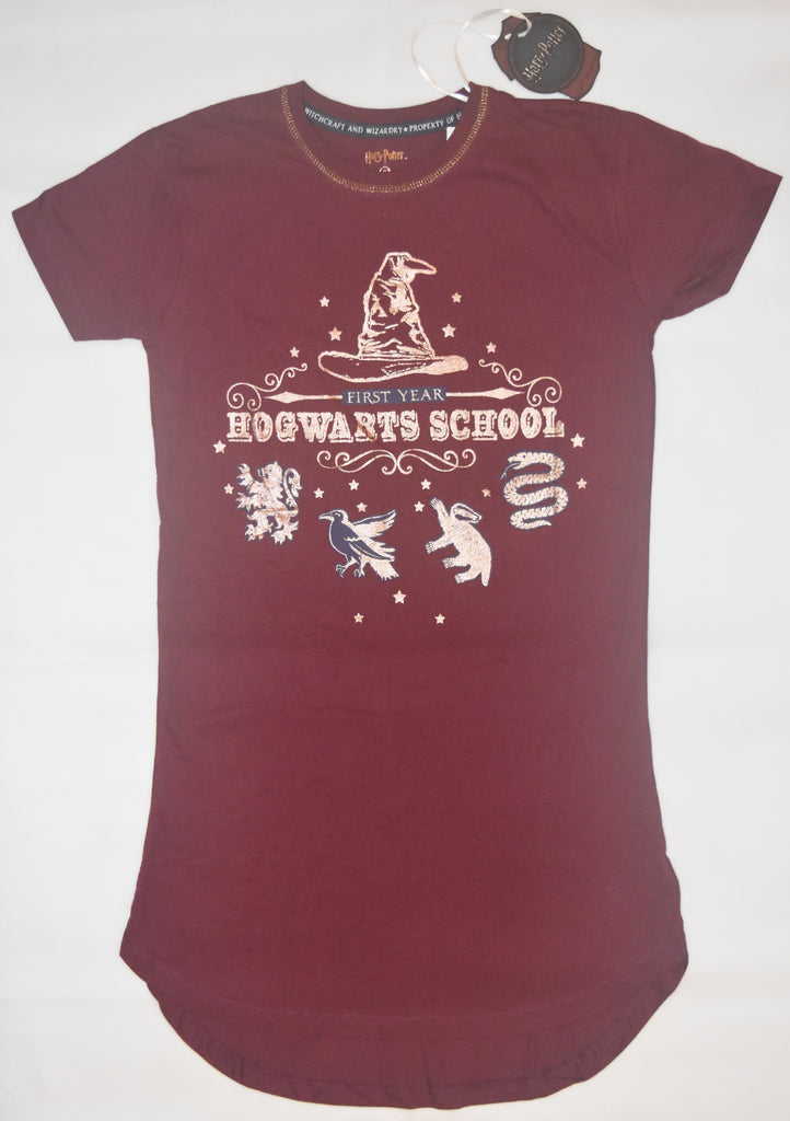 PRIMARK HOGWARTS 1st YEAR PJ NIGHTIE HARRY POTTER Burgundy UK Sizes 6 to 16