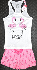 Primark Flamingo PJ Set Pyjamas Vest And Shorts Womens UK Sizes 6 to 20
