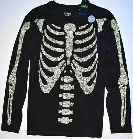 Skeleton T Shirt Mens Glow In The Dark Tee Black Green Bones Halloween M to XXXL
