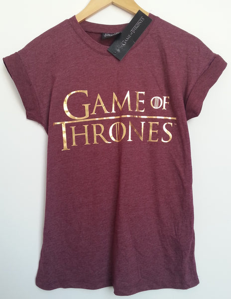 Primark game of thrones t shirt got burgundy womens ladies for Game t shirts uk