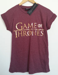 Primark Game Of Thrones T Shirt GoT burgundy Womens Ladies UK 6-20 NEW - Click. Buy. Love. - 1