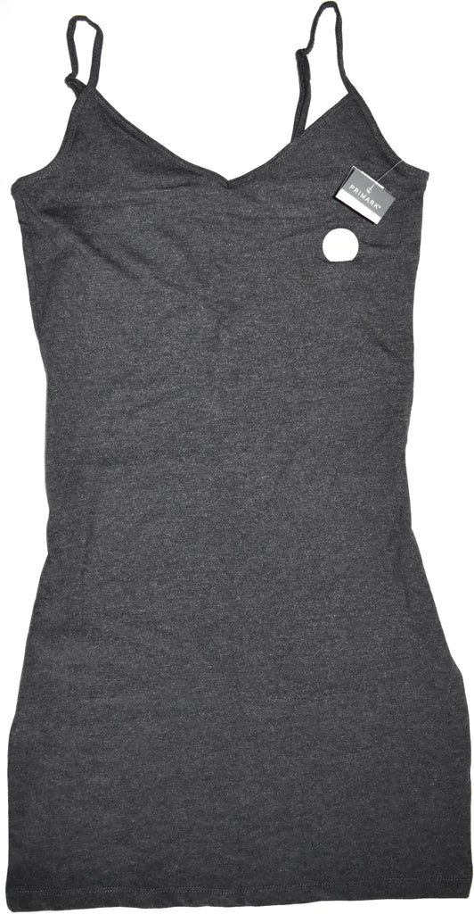 Primark Vest Top Ladies Girls Long Cami Dress Stretch Strap GREY Size 6 to 20