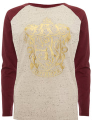 Primark Harry Potter T Shirt Raglan Crest Gryffindor Burgundy Ladies UK 6-20 - Click. Buy. Love. - 1