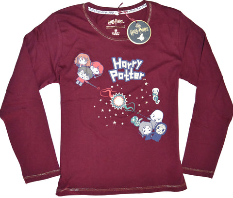 Harry Potter T Shirt Primark 100% Cotton Long Sleeve Ladies Womens Sizes 6 to 20
