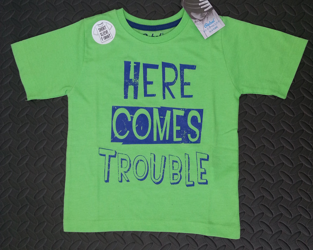 Primark Boys T-Shirt 'Here Comes Trouble' Green Sizes 1-8 years - Click. Buy. Love. - 1