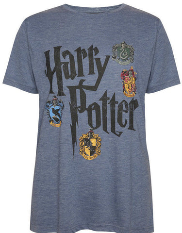 PRIMARK HARRY POTTER HOGWARTS T SHIRT BLUE HOUSE CRESTS NEW 6-20
