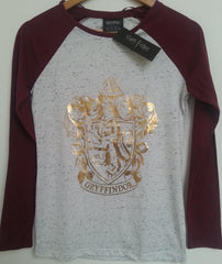 Primark Harry Potter T Shirt Raglan Crest Gryffindor Burgundy Ladies UK 6-20 - Click. Buy. Love. - 2
