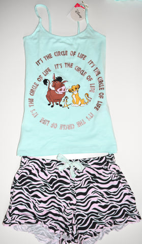 Lion King PJ Set Disney Pyjamas Primark Vest And Shorts Womens Sizes 4 to 16