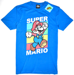 Super Mario T Shirt Primark 100% Cotton Blue Retro Gamer Mens UK Sizes M to XXXL