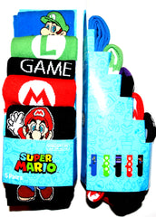 Super Mario Socks Primark Gamer Retro Mens 5 Pack UK Sizes 6 to 8 or 9 to 12