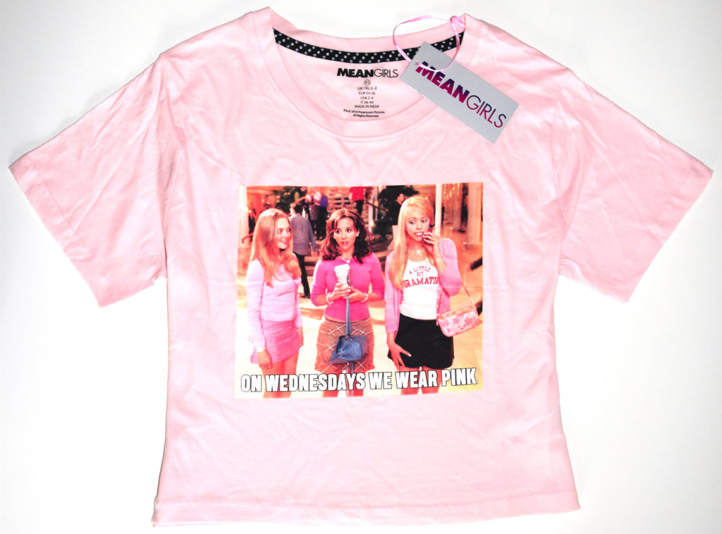 Mean Girls Crop T Shirt Primark On Wednesdays We Wear Pink Ladies Sizes 14 to 20