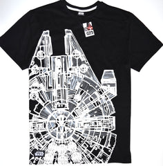 Star Wars T Shirt Millennium Falcon 100% Cotton Mens Black UK Sizes M to XXXL
