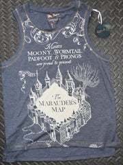 PRIMARK Marauders Map Vest T Shirt HARRY POTTER Womens Blue NEW UK Sizes 6-14