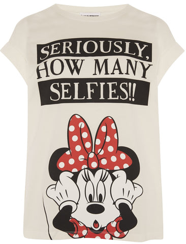 Primark T-Shirt Minnie Mouse 'Seriously How Many Selfies' Womens Ladies UK 6-20 - Click. Buy. Love.