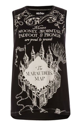 MARAUDERS MAP PRIMARK Vest T-SHIRT HARRY POTTER sizes 6 - 20