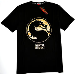 Mortal Kombat T Shirt Mens 100% Cotton Black Gold Foil Logo UK Sizes M to XXXL