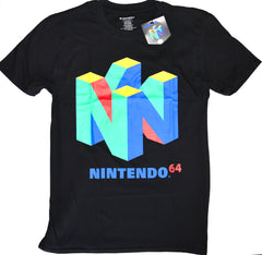 Nintendo 64 T Shirt Primark 100% Cotton Black Super Retro Mens UK Sizes M to L