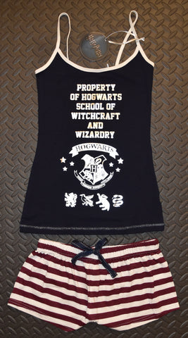 PRIMARK Harry Potter Vest & Shorts Set PJ PYJAMAS Hogwarts UK Sizes 4 to 20