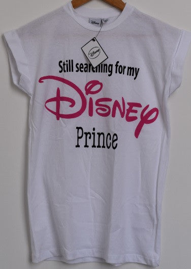 Primark Disney Prince T-SHIRT 'Still searching for my' ladies womens white 6-20 - Click. Buy. Love. - 1