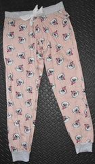 PRIMARK Pug Dog PJ Bottoms Drawstring Ribbon Peach Grey UK Sizes 10 to 16
