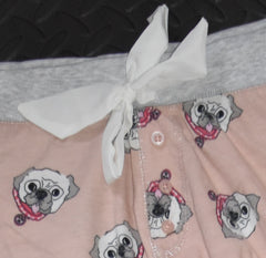 PRIMARK Pug Dog PJ Bottoms  Drawstring Ribbon Peach Grey UK Sizes 6 - 20 NEW