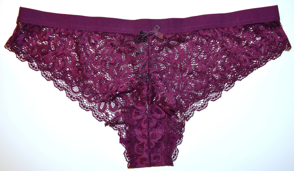 Sexy Plum Lace Knickers Brazilian Panties Flower Underwear Ladies Sizes 12 to 20