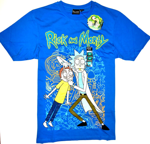 Rick And Morty T Shirt Mens PRIMARK 100% Cotton Blue TV Tee UK Sizes M to XL