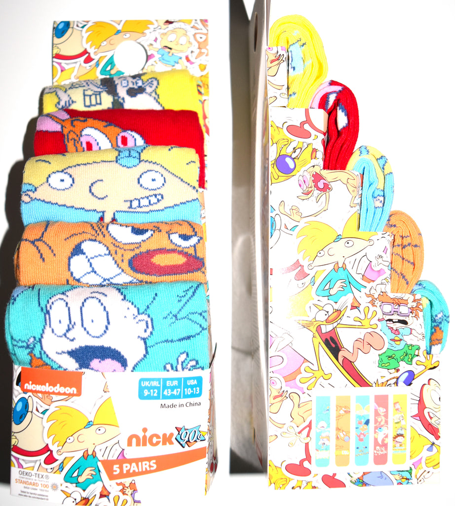 Nickelodeon 90's Socks Primark Rugrats Mens 5 Pack UK Size 6 to 8 or 9 to 12