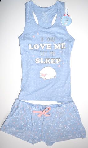 Primark Sheep PJ Set Let Me Sleep Pyjamas Vest Shorts Womens UK Sizes 12 to 20
