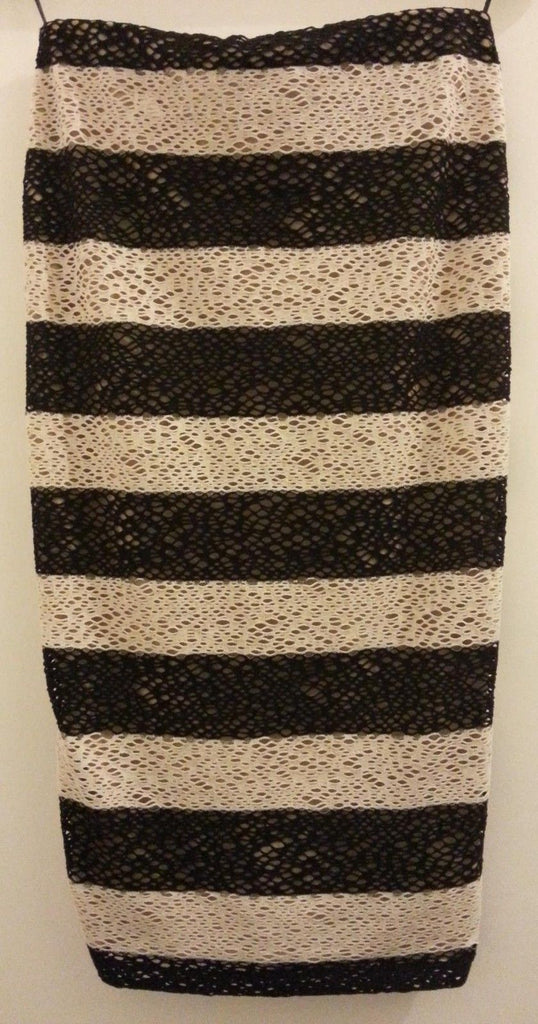 Marks & Spencer Limited Edition Black/Cream Stripe Lace Effect Pencil Skirt 8-10 - Click. Buy. Love.