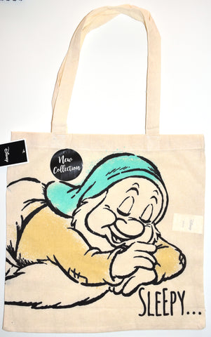 Sleepy Canvas Tote Bag 100% Cotton Disney Seven Dwarfs Shopping Shoulder BNWT