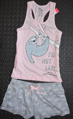 Sloth PJ Set Pyjamas Primark Vest Shorts Racer Back Pink Womens UK 14 to 20