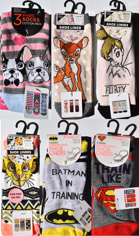 PRIMARK Women's Socks Shoe Liners Bambi Tinkerbell Lion King Superman Batman - Click. Buy. Love. - 1