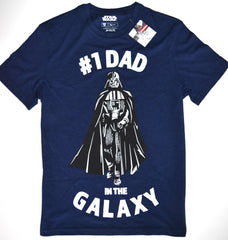 Star Wars T Shirt Mens Darth Vader TU #1 Dad Fathers Day Blue UK Sizes M to XL