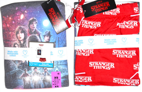 Stranger Things PJ Set Primark T Shirt Shorts Pyjamas Ladies UK Sizes 6 to 16