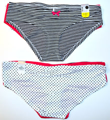 Polka Dot Stripe Knickers 3 Pack Pairs Panties Primark Pink Ladies Sizes 6 to 20