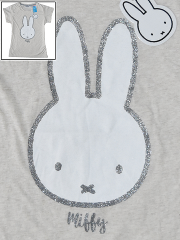 MIFFY BUNNY PRIMARK T-Shirt Top OatMeal Womens Ladies UK Sizes 4 to 20