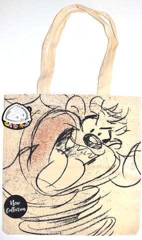 Tazmanian Devil Canvas Tote Bag 100% Cotton Taz Looney Toons Shopping Shoulder BNWT