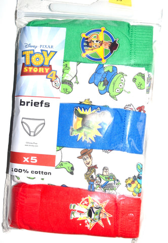 Boys Toy Story Briefs 5 Pack 100% Cotton Underwear Kids Pants Age 18M to 6 Years