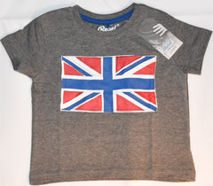 Boys Union Jack Flag T-Shirt British UK Grey Cartoon PRIMARK Sizes 1-8 years NEW