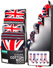 Union Jack Socks Primark UK Flag Mens 5 Pack British UK Size 6 to 8 and 9 to 12