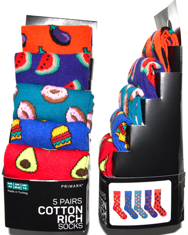Food Socks Primark Emoji Burger Donut Avocado Mens 5 Pack Size 6 to 8 or 9 to 12