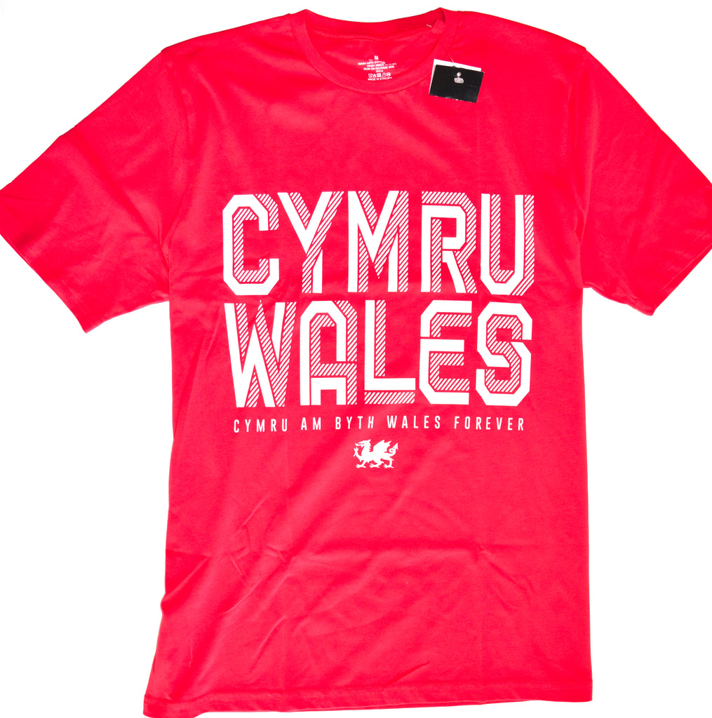 Cymru Wales T Shirt Mens 100% Cotton Red Welsh UK Sizes M to XXXL