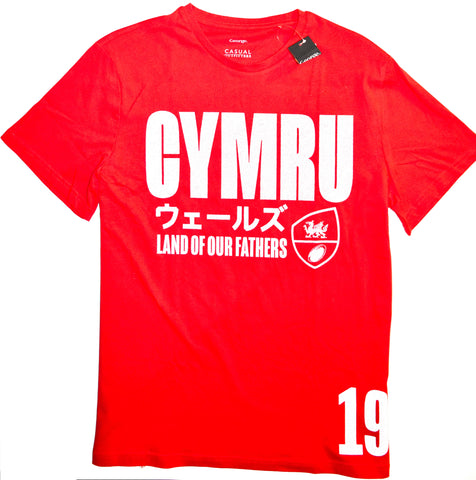 Cymru Rugby T Shirt Mens 100% Cotton Red Wales Welsh UK Sizes M to XXXL